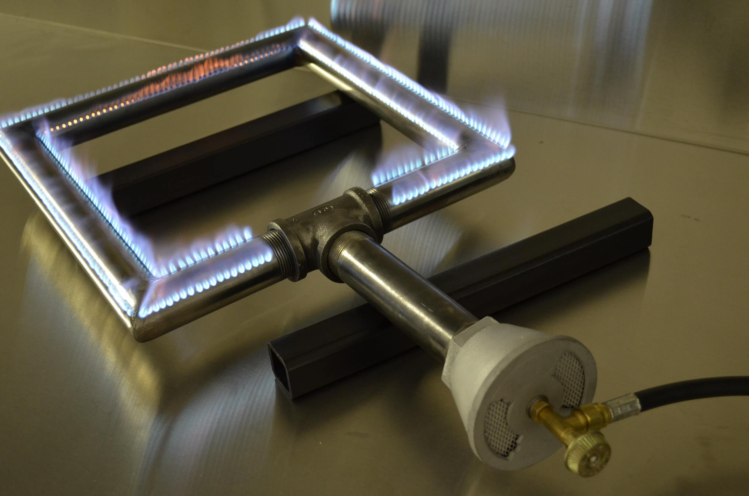 Square Pipe Burner with Flames