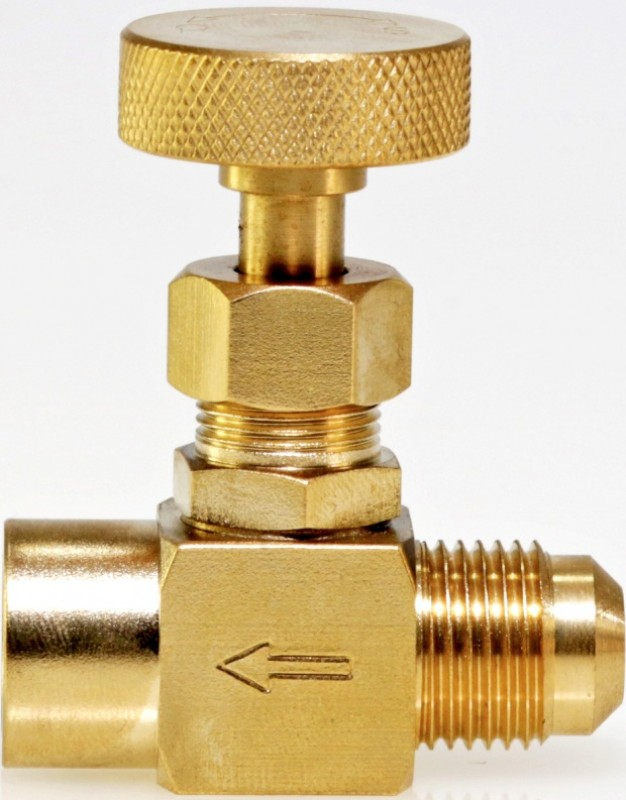"950-BRF-MB  -  Precision machined brass needle valve for fine adjust gas flow, 1/4"" female NPT x 3/8"" male Gas Flare"