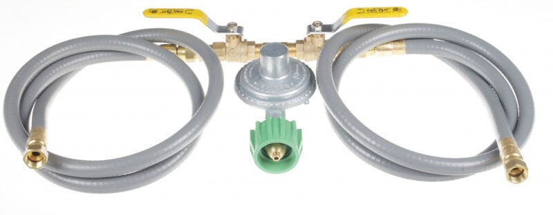 COM5-D Dual Hose, Dual Ball Valve, Low Pressure PRESET Regulator Assembly with Green Acme Tank Fitting