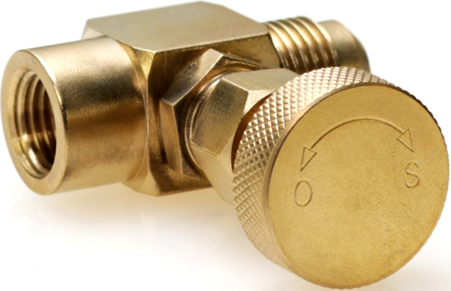 knurled brass control knob on gas needle valve