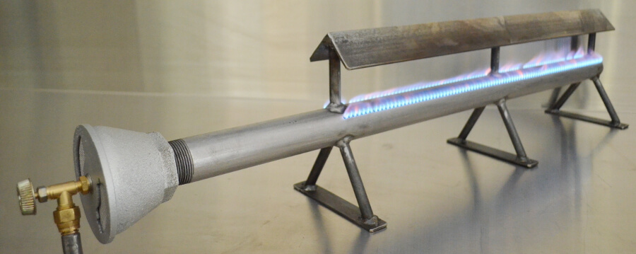 Pipe Burner with Grease Shield and Legs