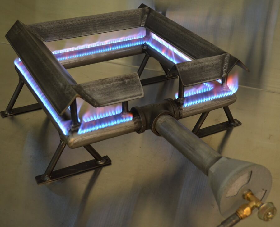 Square Pipe Burner with Grease Shield and Optional Support Legs